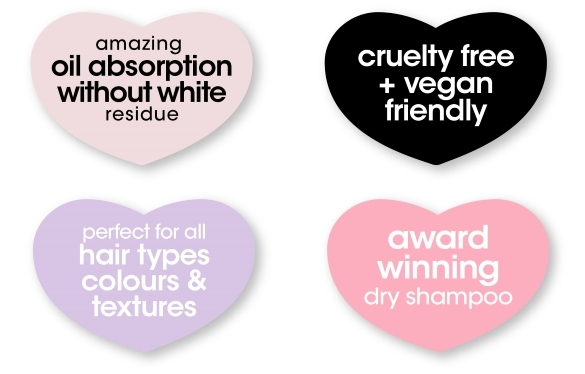 award winning, amazing oil absorption without white residue, cruelty free and perfect for all hair types colours & textures