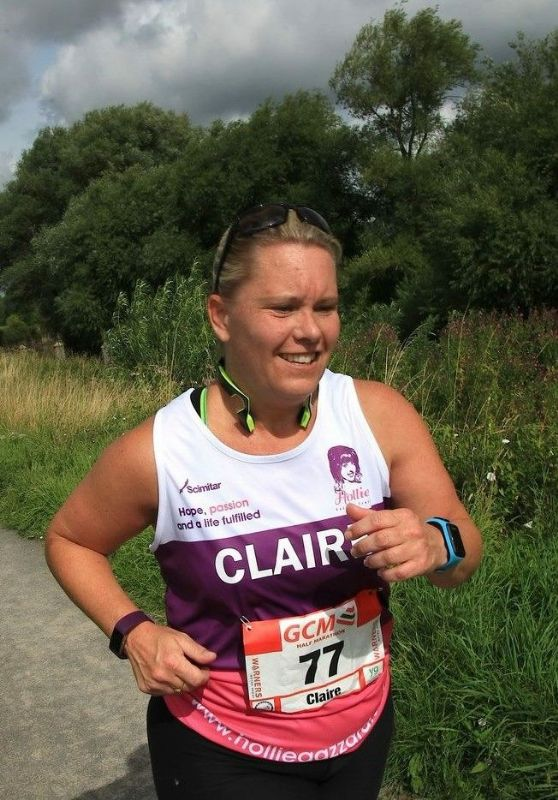 Claire Bryant competing in the Gloucester Half Marathon in August