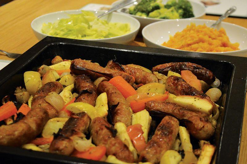 Sausage and apple traybake