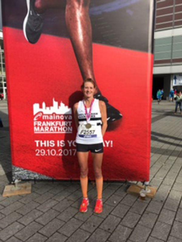 Fee Maycock after last year's marathon in Frankfurt