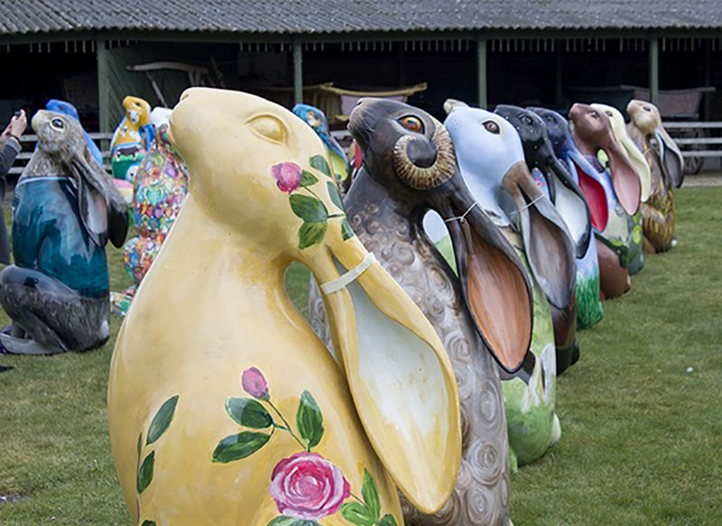 Some of the 2018 hares, including the nearest one which is sponsored by The Local Answer