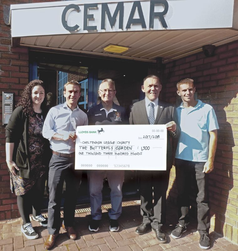 Butterfly Garden at Cemar, from left, Annabelle Strutt, Nick Woodrow, Nick Oram, Cheltenham League chairman, Chris Evans and Nathan Ridley.