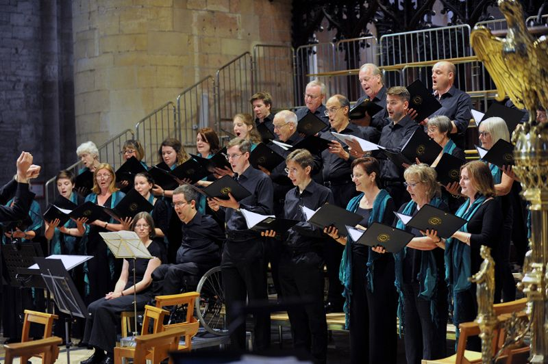 The Oriel Singers performing at Tewkesbury Abbey