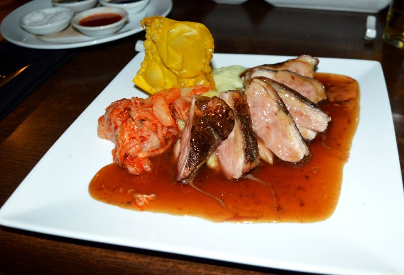 Five-Spice Duck Breast with wasabi mash and kimchi