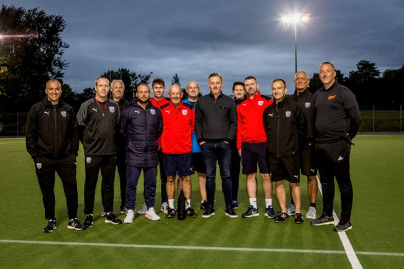 Garry Monk, centre, with Paul Gardiner, left, and Stuart Monk, right, with the coaches at West Bromwich Albion development centre in Gloucester