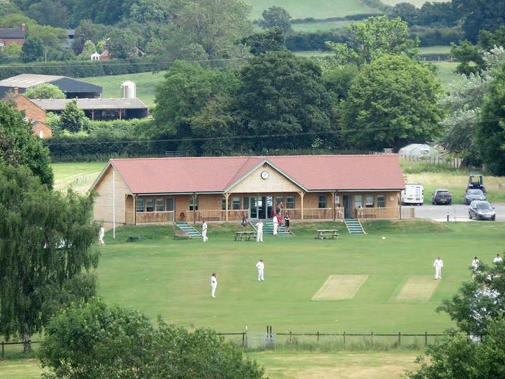 The new pavilion at Dymock Cricket Club. The picture was taken from the nearby church steeple