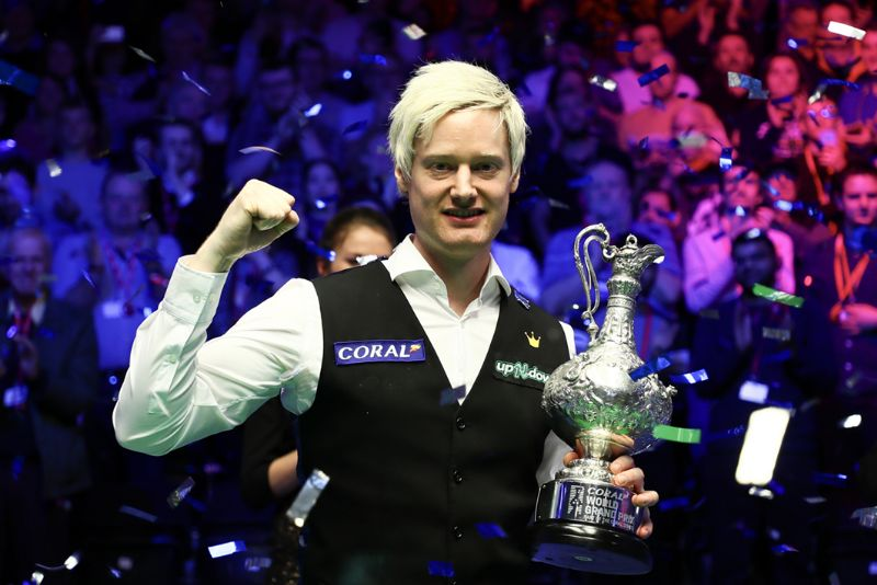 Neil Robertson after winning the Coral World Grand Prix at the Centaur at Cheltenham Racecourse