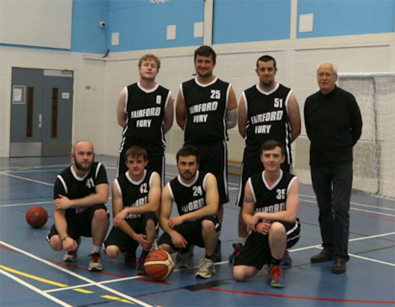 Roger West, back row, right, in his Fairford Fury basketball days
