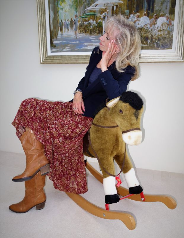 Western style fashion leather boots floral skirt rocking horse